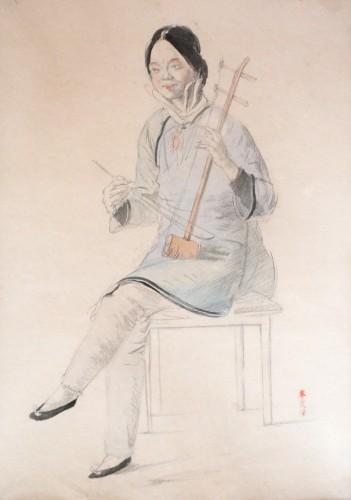 Chinese Musician, Watercolour, 1910